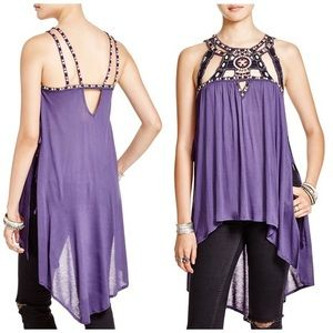 Free people purple vision quest embellished top